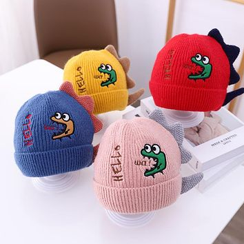 Children's Hat Autumn And Winter Cute Super Cute Dinosaur Baby Wool Hat Baby Ear Protection Warm Boys And Girls Knitted Hat