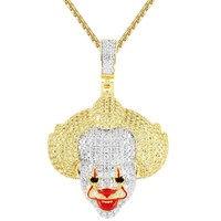 Men's Iced Out Joker Character 3D Face Pendant Chain