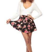 Two Toned Floral Contrast Long Sleeve A Line Dress
