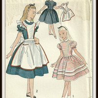Vintage Simplicity Pattern 3701 Girls Alice In Wonderland Dress and Pinafore, Size 8