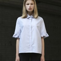 [LOCLE by LOW CLASSIC] 16 SUMMER SHIRRING SHIRTS - STRIPE