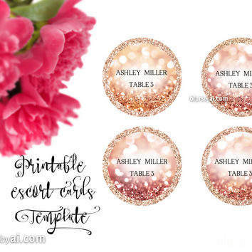 Round escort card template for Word, in rose gold glitter