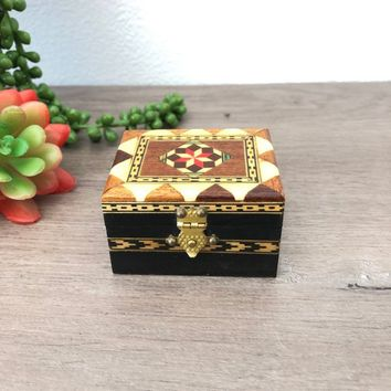Wooden Ring Box, Inlaid Wood Box, Bohemian Wedding Ring Bearer Box, Jewelry, Trinket or Keepsake Box, Small Storage Box, Tiny Treasure Box