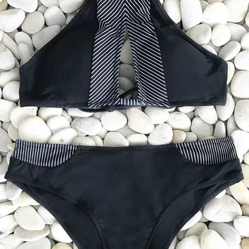 Cupshe Made the Cut Stripe Splicing Bikini Set