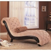 Coaster Chaise Lounge with Tufted Beige Fabric Black Wood Base