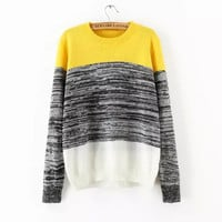 Blocking Long-Sleeve Knitted Sweater