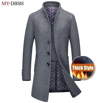 2017 New Winter Men Wool Trench Coat Men's Long Trench Slim Fit Overcoat High Quality Men Coats Fashion Casual Trench Outerwear