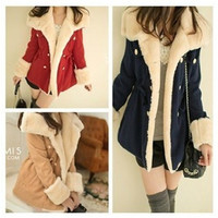 Hot Korean Winter New Fashion Slim Warm Double-breasted Wool Jacket Womens Coat = 1956651588