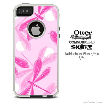 The Pink DragonFly Bundle Skin For The iPhone 4-4s or 5-5s Otterbox Commuter Case