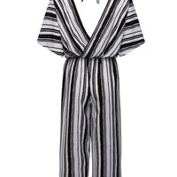 Monochrome Halter Neck Stripe Print Cropped Wide Leg Jumpsuit