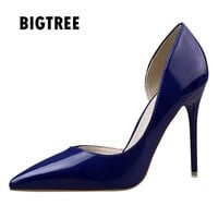 New Women pumps Fashion pointed toe patent leather stiletto high heels Spring autumn wedding shoes woman Zapatos Mujer