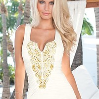White (WH) Gold Beaded Top