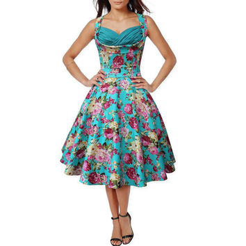 Hot Selling 1950s 50s Retro Style Sleeveless Party Swing Dress Print Floral Dresses Women Vintage Knee-Length Plus Size Vestidos