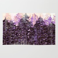 NORTHWEST VIBES Colorful Watercolor Painting Forest Trees Violet Green Modern Nature Art West Coast  Rug by EbiEmporium