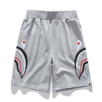 BAPE AAPE Popular Women Men Casual Print Sports Running Shorts Grey