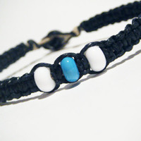 Mens Bracelet Black Hemp White Blue Glass Beads MADE TO ORDER-3 Week production time