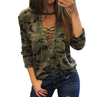 Women's Lace Up Camo Sweater