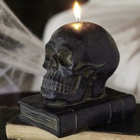 Skull on Book Candle