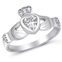 Sterling Silver Claddagh Irish Engagement Ring with Cubic Zirconia Ring