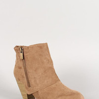 Qupid Suede Almond Toe Zipper Cuff Ankle Bootie Color: Black, Size: 9