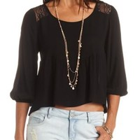 Sheer Lace Yoke Babydoll Top by Charlotte Russe