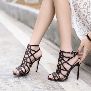 Stylish Summer Design Star Fine Strap Hollow Out High Heel Sexy Peep Toe Sandals [11300325135]