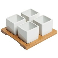 4 Piece Modern White Mini Square Cube Ceramic Succulent Planters / Flower Pots w/ Bamboo Tray - MyGift®