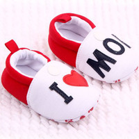 Hot I Love MOM DAD Lovely Baby Girls Boy Shoes Round Toe Flats Soft Slippers Toddler Shoes L4