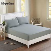Cool Solid Bed Sheet Fitted Sheet Bed Cover Elastic Sheets Mattress Protector Cover 160X200cm Single Double Queen Full KingAT_93_12