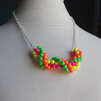 Neon Statement Necklace:  Bright Colorful Neon Jewelry, Hot Pink, Lime Green, Lemon Yellow, Citrus Orange