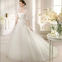 White Ball Sweetheart Beading Applique Tulle 2013 Wedding Dress IWD0171 -Shop offer 2013 wedding dresses,prom dresses,party dresses for girls on sale. #Category#