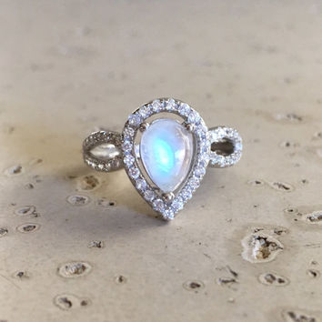 Pear Shape Engagement Ring- Moonstone Ring- Promise Ring- Wedding Ring- Double Band Ring- Statement Ring- Sterling Silver Ring- Moonstone