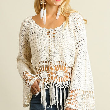 Bohemian Crochet and Fringe Sweater Top (Pre-Order)