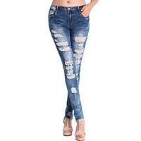 Fashion Pants Jeans Women Hole Stretch Cotton Ripped Skinny Jeans