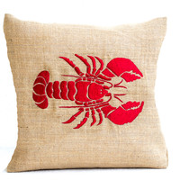 Sea pillow- Embroidered lobster pillow- Burlap pillow- Red lobster throw pillow cushion- 18x18 - Gift- Bedding- Red cushion- Oceanic pillow