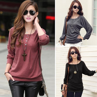 Fashion Batwing Autumn Spring Shirt Celebrity Style Women's Loose Pullover Shirt Winter Fashion Cotton Blouse  T-Shirt 19889 40901 = 1930092548