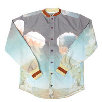 Guns Germs $teal: Varsity Button-Up (Atom Bomb Blue)