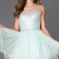 Short Sleeveless Dress with Sheer and Sequin Bodice
