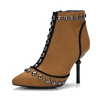 Pointed Toe Studded Ankle Boots High Heel Shoes 5565