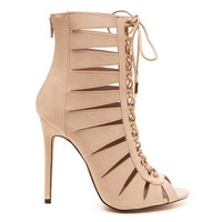 CELESTINE LACE UP BOOTIE - NUDE