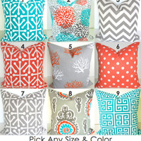Pillows MIX & MATCH Any Size- Pattern Outdoor Pillows  TEAL Orange Grey Decorative throw Pillow Covers Turquoise Gray Indoor Outdoor Pillows