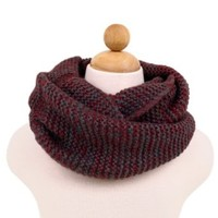 Two-Tone Winter Knit Warm Infinity Circle Scarf, Burgundy
