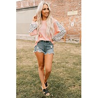 A Bit Of A Flirt Spotted Waffle Knit Top (Baby Pink)
