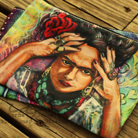 Frida Kahlo Cosmetic Bag, Makeup Bag - Mexican Folk Art Bag - Zippered Pouch - Pencil Bag - Frida Bag - Frida Zippered Bag - Gifts for Girls