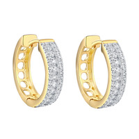 Hoop Earrings Simulated Diamonds 925 Silver Yellow Gold Finish