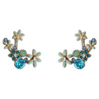 Women's Front Back Flower Earrings with Stones - Gold/ Blue