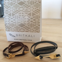 Leather Wrap with Gold Arrow Clasp