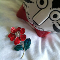Red and Green Flower Pin Vintage Red Rose Brooch Enamel Jewelry Botanical Pin Collectible Stamped Brooch Romantic Gift for Her Spring Flower