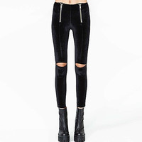 Black Cut-Knee Zipper Skinny Pants