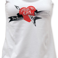 Tom Petty and the Heartbreakers Women's T-Shirt - Tom Petty and the Heartbreakers American Girl Album Cover Artwork  | Women's White Tank Top Shirt
